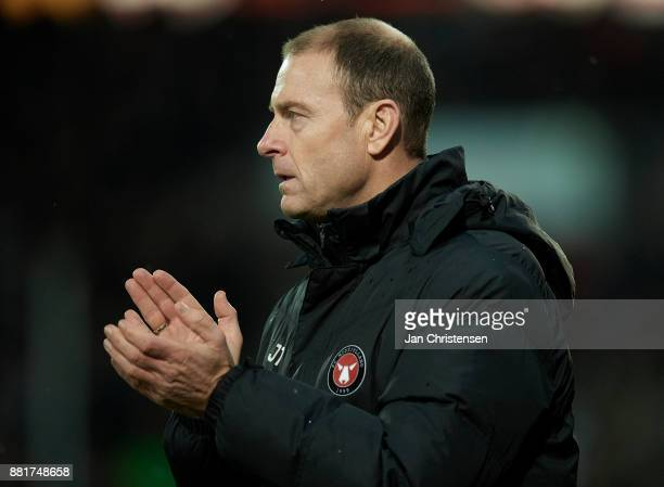 Jess Thorup head coach of FC Midtjylland looks on during the Danish Alka Superliga match between FC Midtjylland and AGF Arhus at MCH Arena on...