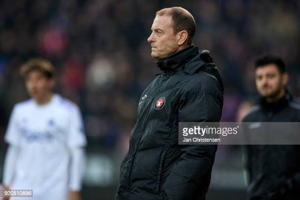 Jess Thorup head coach of FC Midtjylland looks on during the Danish Alka Superliga match between FC Midtjylland and FC Copenhagen at MCH Arena on...