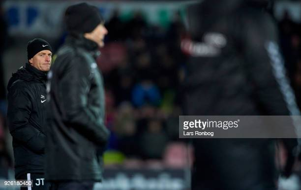 Jess Thorup head coach of FC Midtjylland looks on during the Danish Alka Superliga match between FC Midtjylland and Brondby IF at MCH Arena on March...