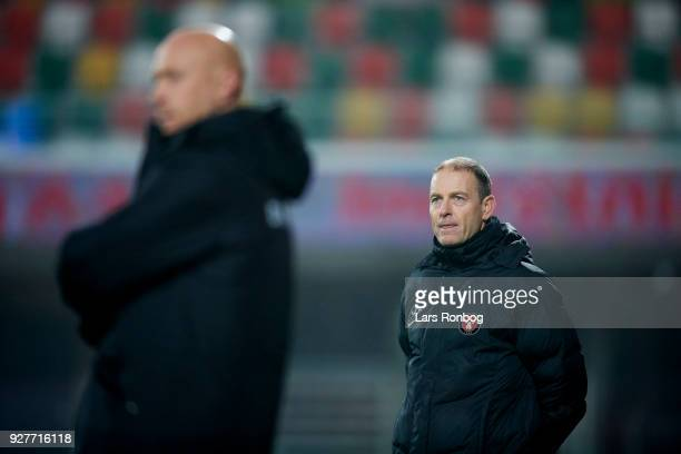 Jess Thorup head coach of FC Midtjylland looks on during the Danish Alka Superliga match between Silkeborg IF and FC Midtjylland at JYSK Park on...