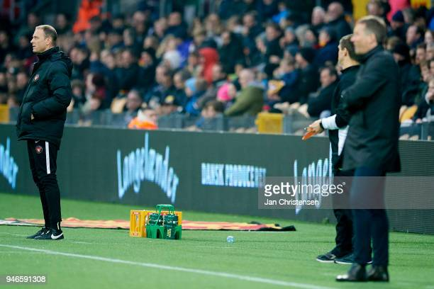Jess Thorup head coach of FC Midtjylland looks on during the Danish Alka Superliga match between FC Nordsjalland and FC Midtjylland at Right to Dream...