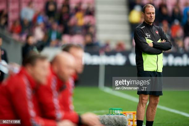 Jess Thorup head coach of FC Midtjylland looks on during the Danish Alka Superliga match between FC Midtjylland and AaB Aalborg at MCH Arena on April...