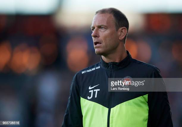 Jess Thorup head coach of FC Midtjylland looks on during the Danish Alka Superliga match between FC Midtjylland and FC Nordsjalland at MCH Arena on...