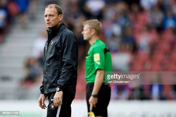 Jess Thorup head coach of FC Midtjylland looks on during the Danish Alka Superliga match between FC Copenhagen and FC Midtjylland at Telia Parken...