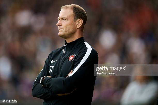 Jess Thorup head coach of FC Midtjylland looks on during the Danish Alka Superliga match between FC Midtjylland and AC Horsens at MCH Arena on May 21...