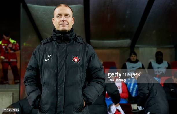 Jess Thorup head coach of FC Midtjylland looks on prior to the Danish Alka Superliga match between Silkeborg IF and FC Midtjylland at JYSK Park on...