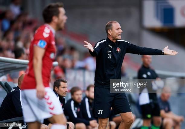 Jess Thorup head coach of FC Midtjylland shows frustration during the Danish Superliga match between Vejle Boldklub and FC Midtjylland at Vejle...