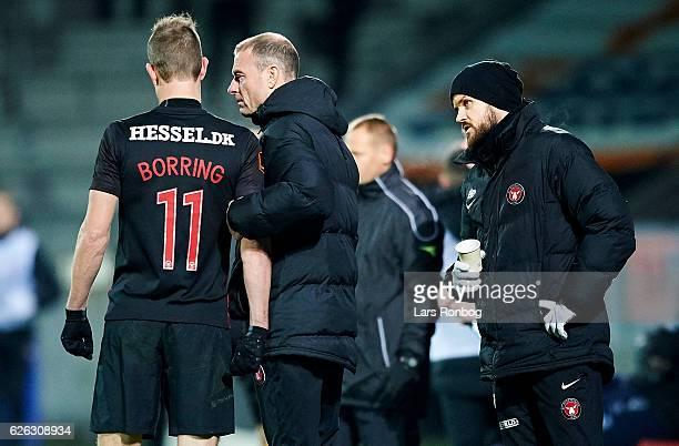 Jess Thorup head coach of FC Midtjylland speaks to Jonas Borring of FC Midtjylland during the Danish Alka Superliga match between FC Midtjylland and...