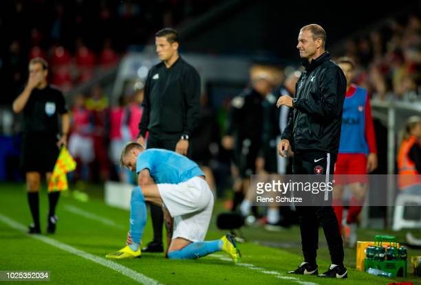 Jess Thorup head coach of FC Midtjylland the UEFA Europa League Playoff match between FC Midtjylland and Malmo FF at MCH Arena on August 30 2018 in...