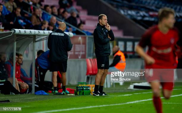 Jess Thorup head coach of FC Midtjylland the UEFA Europa League Qual match between FC Midtjylland and The New Saints at MCH Arena on August 16 2018...