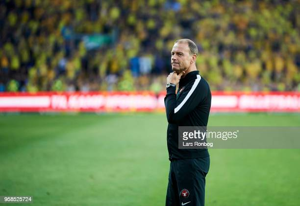 Jess Thorup head coach of FC Midtjylland walking on the pitch after the Danish Alka Superliga match between Brondby IF and FC Midtjylland at Brondby...