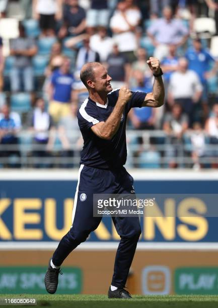 Jess Thorup head coach of Kaa Gent celebrates after winning the Jupiler Pro League match between KAA Gent and AS Eupen at Ghelamco Arena on August 4...