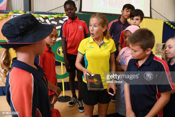 Jess Trengove chats to students during the Commonwealth Games Schools Assembly at Pennington Primary School on February 14 2018 in Adelaide Australia