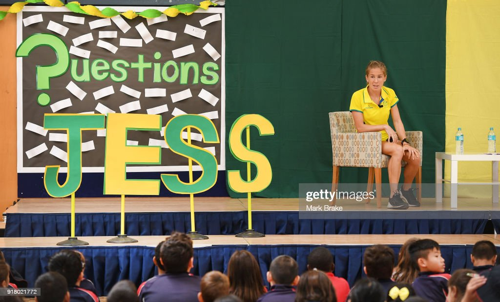 Jess Trengove during the Commonwealth Games Schools Assembly at Pennington Primary School on February 14, 2018 in Adelaide, Australia.