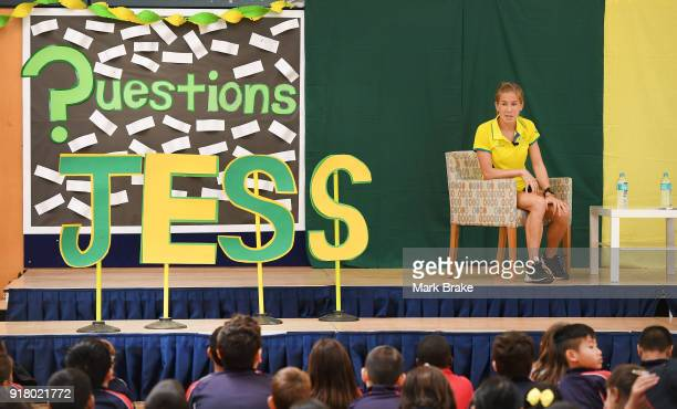 Jess Trengove during the Commonwealth Games Schools Assembly at Pennington Primary School on February 14 2018 in Adelaide Australia