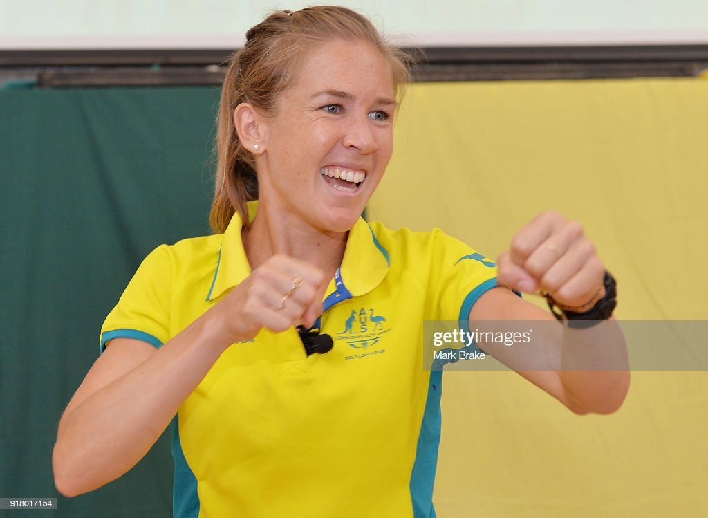 Jess Trengove goes through her warm up routine with teachers and students during the Commonwealth Games Schools Assembly at Pennington Primary School on February 14, 2018 in Adelaide, Australia.