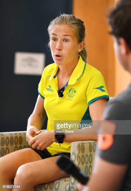 Jess Trengove takes questions from students during the Commonwealth Games Schools Assembly at Pennington Primary School on February 14 2018 in...