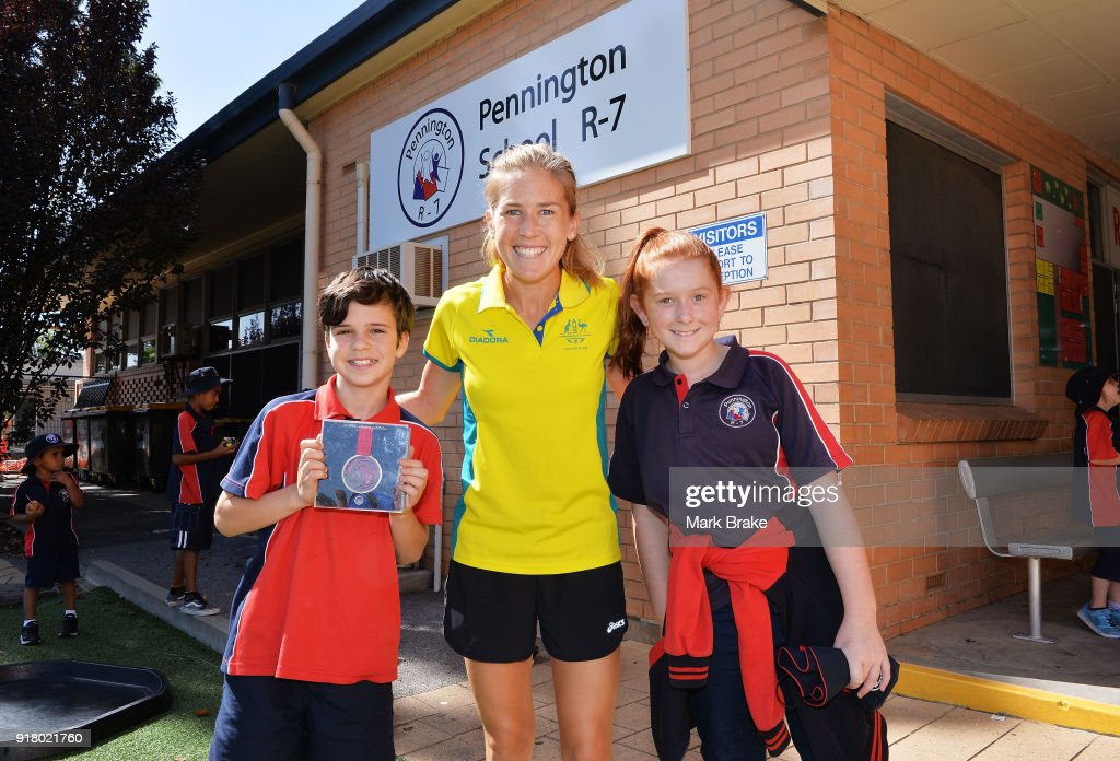 Commonwealth Games Schools Assembly With Jess Trengove : News Photo