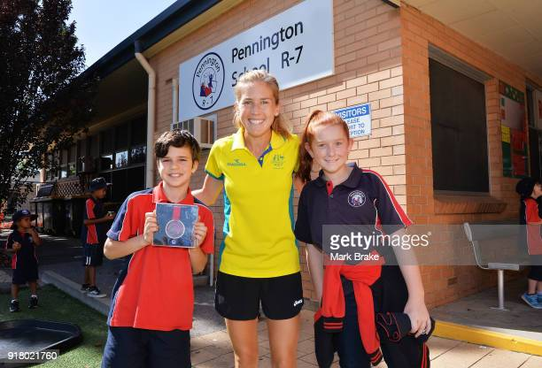 Jess Trengove welcomed by students Jamie Phillips and Caitlin Mitchell during the Commonwealth Games Schools Assembly at Pennington Primary School on...
