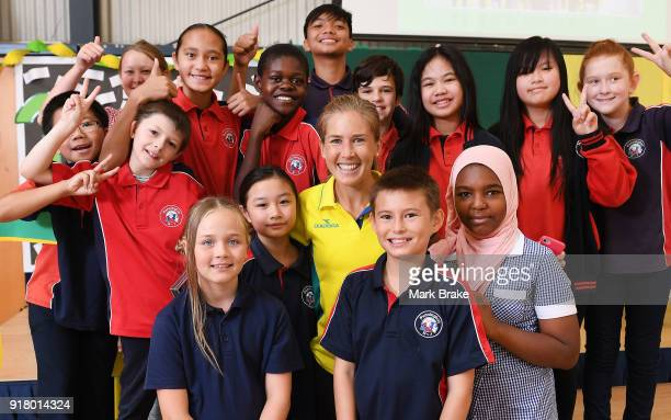 Jess Trengove with students during the Commonwealth Games Schools Assembly at Pennington Primary School on February 14 2018 in Adelaide Australia