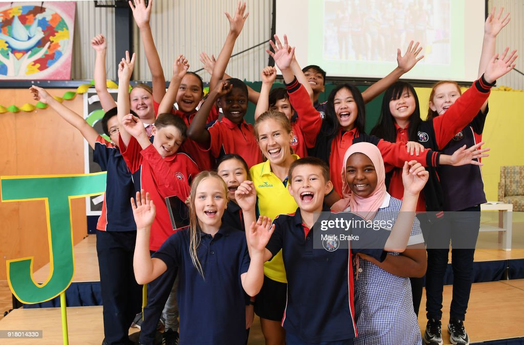 Jess Trengove with students during the Commonwealth Games Schools Assembly at Pennington Primary School on February 14, 2018 in Adelaide, Australia.