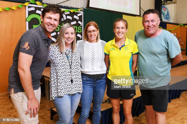 Jess Trengove with teachers during the Commonwealth Games Schools Assembly at Pennington Primary School on February 14 2018 in Adelaide Australia