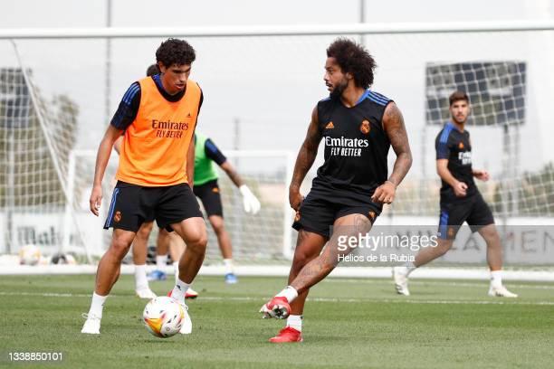 Jesús Vallejo and Marcelo Silva of Real Madrid during training at Valdebebas training ground on September 07, 2021 in Madrid, Spain.