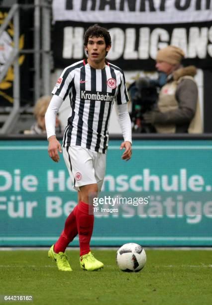 Jesús Vallejo of Frankfurt controls the ball during the Bundesliga match between Eintracht Frankfurt and FC Ingolstadt 04 at Commerzbank-Arena on...
