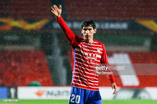 Jesús Vallejo of Granada reacts during the UEFA Europa League Group E stage match between Granada CF and AC Omonoia at Estadio Nuevo Los Carmenes on...