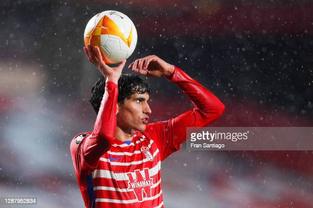 Jesús Vallejo of Granada rholds the ball during the UEFA Europa League Group E stage match between Granada CF and AC Omonoia at Estadio Nuevo Los...