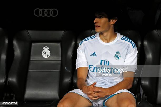 Jesús Vallejo of Real Madrid sits on the bench during the La Liga match between Real Madrid and Espanyol at Estadio Santiago Bernabeu on October 1,...