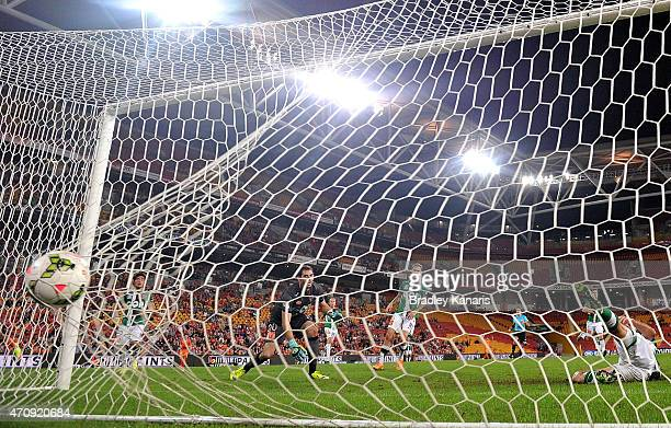 Jess Vanstrattan of the Jets is unable to save this goal by Kofi Danning of the Roar during the round 27 A-League match between the Brisbane Roar and...