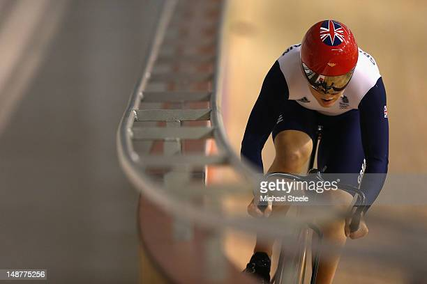 Jess Varnish during the Team GB Track Cycling Training Session at Newport Velodrome on July 19 2012 in Newport Wales