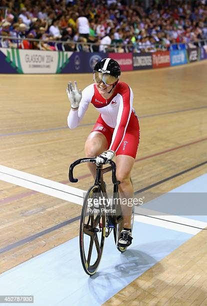 Jess Varnish of England celebrates after winning Bronze in the Women's Sprint Bronze Final at Sir Chris Hoy Velodrome during day four of the Glasgow...