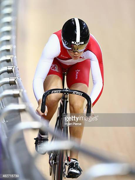 Jess Varnish of England competes in the Women's Sprint Qualifying at Sir Chris Hoy Velodrome during day three of the Glasgow 2014 Commonwealth Games...