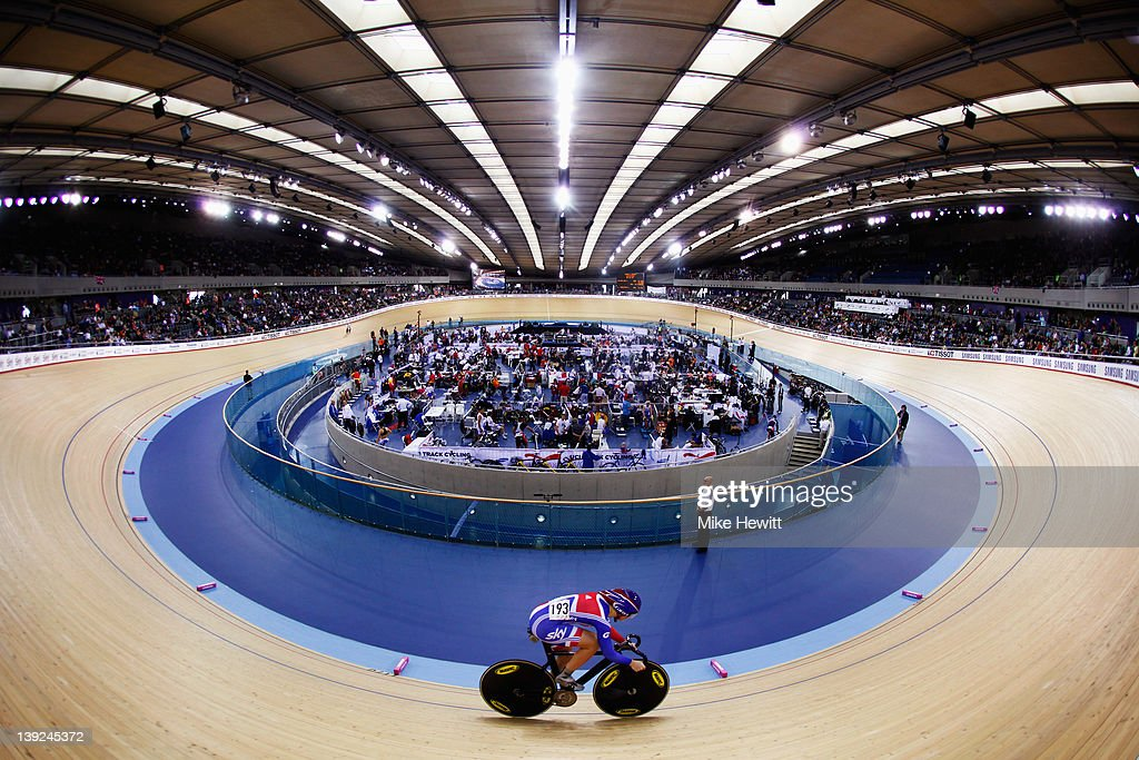 Jess Varnish of Great Britain rides in the Women's Sprint during the UCI Track Cycling World Cup - LOCOG Test Event for London 2012 at the Olympic Velodrome on February 18, 2012 in London, England.