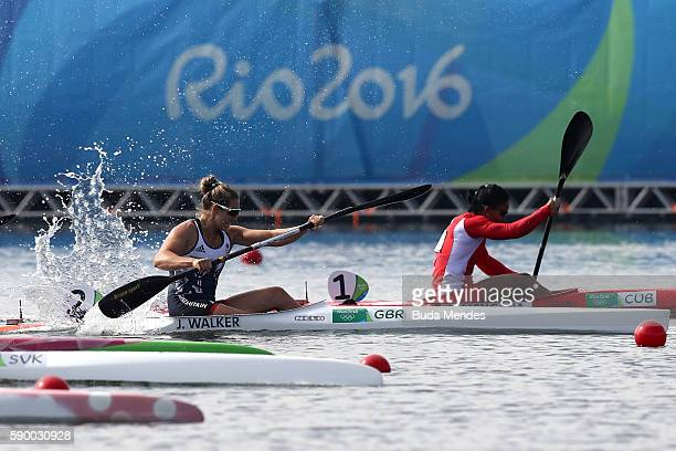Jess Walker of Great Britain competes during the Women's Kayak Single 200m B on Day 11 of the Rio 2016 Olympic Games at the Lagoa Stadium on August...