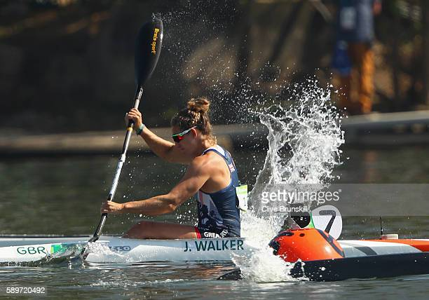 Jess Walker of Great Britain competes in the Women's Kayak Single 200m Heat 2 on Day 10 of the Rio 2016 Olympic Games at Lagoa Stadium on August 15...