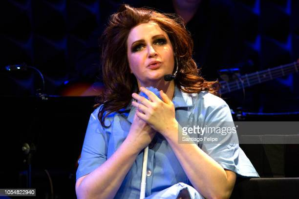 Jess Watkins performs onstage as 'Donna Karan' during The Obsession Of Calvin Klein at Joe's Pub on October 28 2018 in New York City