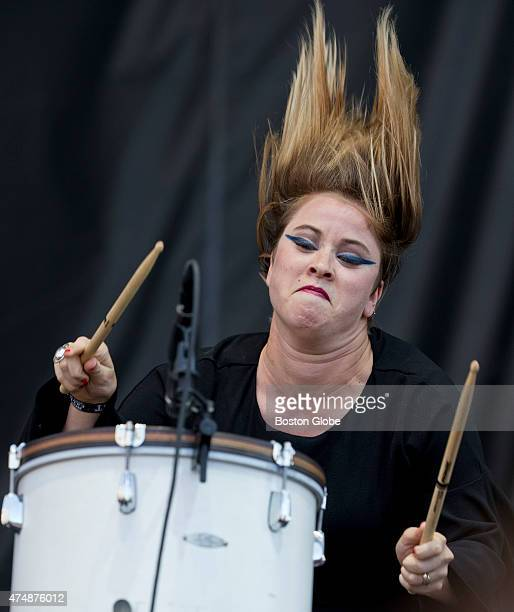 Jess Wolfe performs with her band Lucius at the Boston Calling Music Festival in City Hall Plaza on Sunday May 24 2015 James Reed