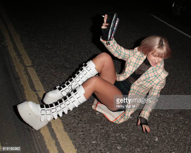 Jess Woodley seen attending the Wonderland Magazine x MTV party at The Ned during LFW February 2018 on February 16 2018 in London England