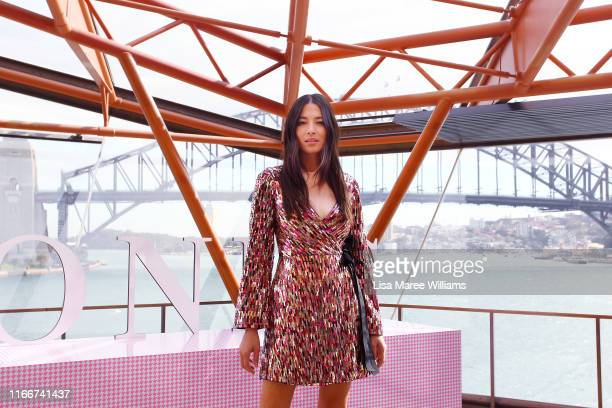 Jesscia Gomes arrives at the David Jones SS19 Season Preview at the Sydney Opera House on August 08, 2019 in Sydney, Australia.