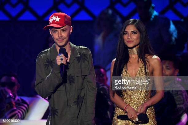 Jesse and Alejandra Espinoza present an award during Univision's 'Premios Juventud' 2017 Celebrates The Hottest Musical Artists And Young Latinos...