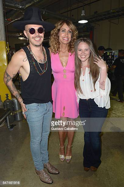 Jesse and Joy and Lili Estefan attends the Univision's 13th Edition Of Premios Juventud Youth Awards at Bank United Center on July 14 2016 in Miami...