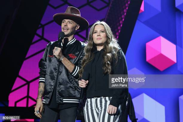 Jesse and Joy rehearse on stage during Univision's 'Premios Juventud' 2017 Celebrates The Hottest Musical Artists And Young Latinos ChangeMakers Day...