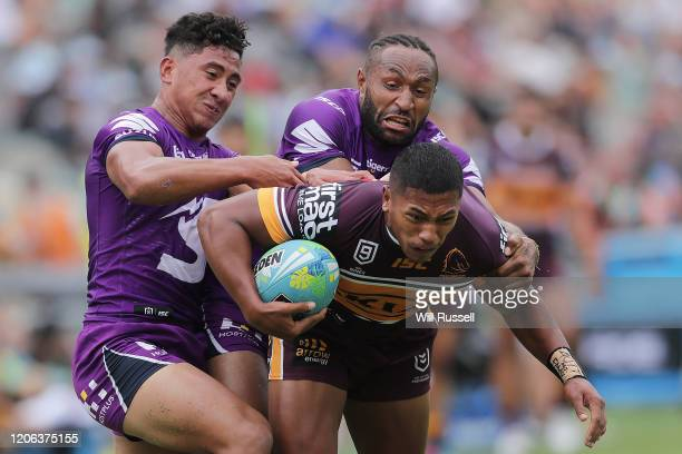 Jesse Arthars of the Broncos is tackled during Day 2 of the 2020 NRL Nines at HBF Stadium on February 15 2020 in Perth Australia
