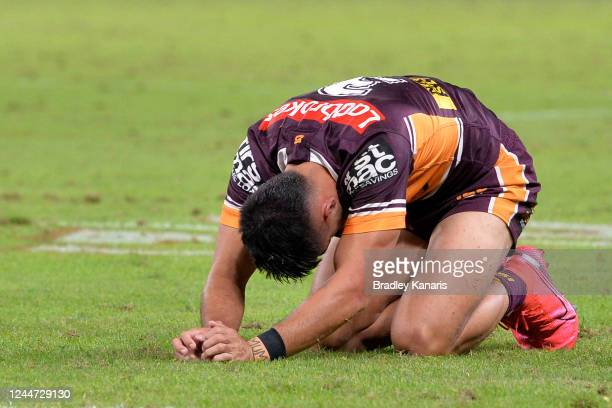 Jesse Arthars of the Broncos reacts during the round four NRL match between the Brisbane Broncos and the Sydney Roosters at Suncorp Stadium on June...