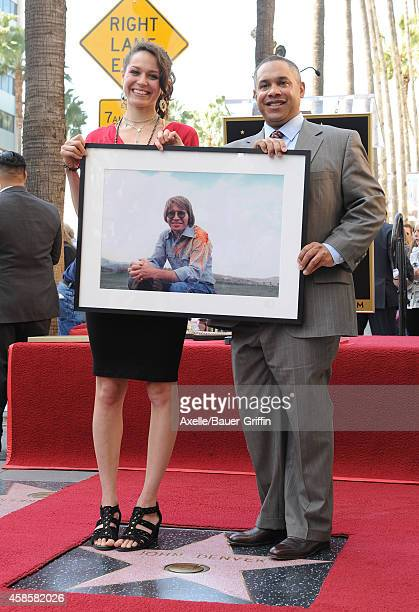 Jesse Belle Denver and Zachary Deutschendorf attend the ceremony of their late father John Denver honored posthumously with the 2531st star on the...