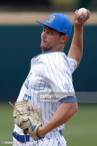 Jesse Bergin of UCLA throws a pitch during a baseball game against University of Washington at Jackie Robinson Stadium on May 19 2019 in Los Angeles...