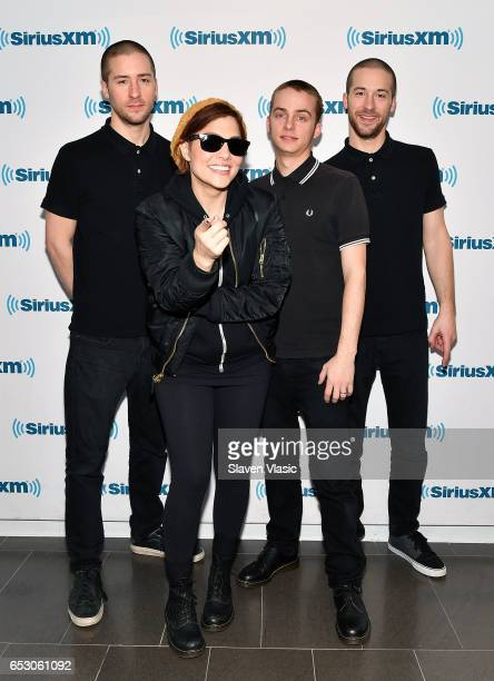 Jesse Bivona Aimee Allen Kevin Bivona and Justin Bivona of the ska punk band 'The Interrupters' visit SiriusXM Studios on March 13 2017 in New York...